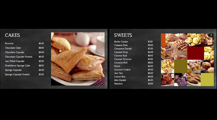 Sample 2x1 digital menu board
