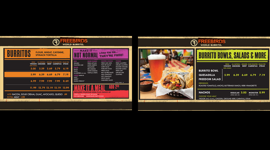 Digital menu board for Freebird