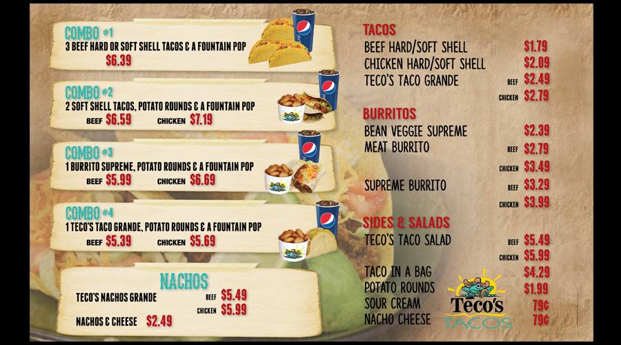 Digital menu board for Teco's Tacos