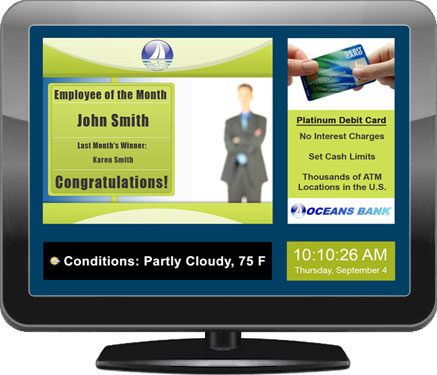 Example of a digital signage screen for banks and bank branches