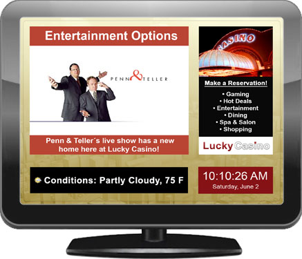 Illustration of a digital signage display for casinos and gaming