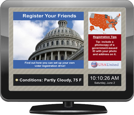 Digital signage screen for public government facilities, created with EasyStart