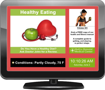Example of a digital signage screen for hospitals and clinics