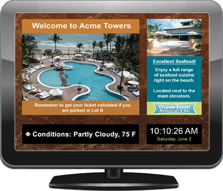 Illustration of a digital signage display for hotels and hospitality
