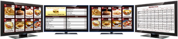 Picture of a digital menu board system with 4 displays