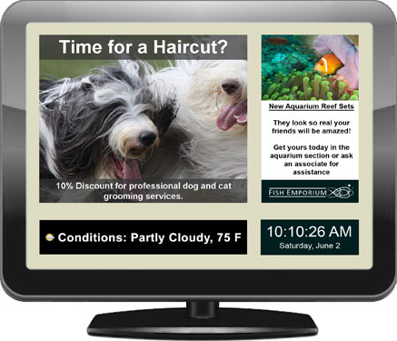 Illustration of a digital signage display for pet stores and veterinarians