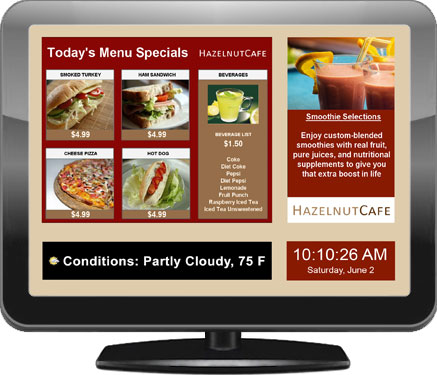 Example of a digital signage screen for restaurants, bars and nightclubs