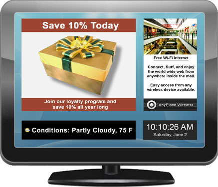 Illustration of a digital signage display for retail stores and malls