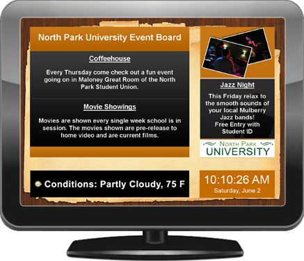 Digital signage screen for school and university campuses, created with EasyStart
